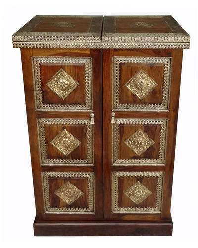 Shubham Arts Brown Gold Color Wooden With Br Work Wine Cabinet Bar Counter
