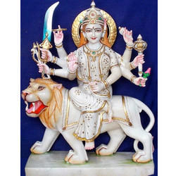 God Durga White Statue