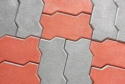 Red Cement Interlocking Pavers for Floor, Size: 80 mm Thickness
