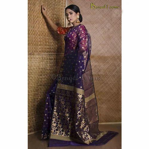 55c129a9a39 Beautiful Pure Handloom Muslin Jamdani Saree In Midnight Blue And Gold