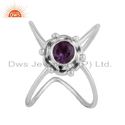 Oxidized 925 Silver Natural Amethyst Antique Ring