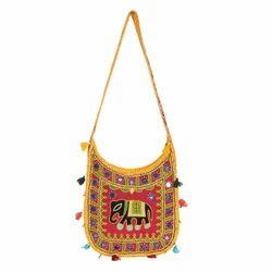 Yellow Cotton Handicraft Shoulder Bag