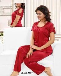 Nightwear Solid Shades 2 Piece Satin Nighty, Size: Free Size