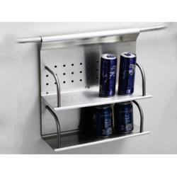 Stainless Steel Silver Double Rack, Packaging Type: Carton Box