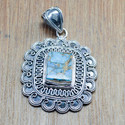 925 STERLING SILVER FINE JEWELRY COPPER TURQUOISE GEMSTONE PENDANT WP-5662