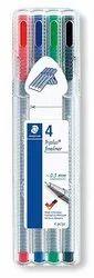 Staedtler 334 SB4 Triplus Fineliner Pen - Pack of 4 (Multicolor)