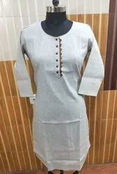 2095 Khadi Grey Kurta Patti With Button