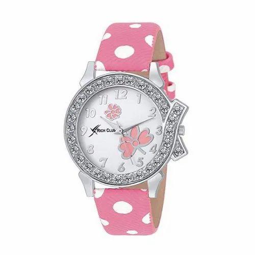 Round Ladies Rich Club Analogue White Watch