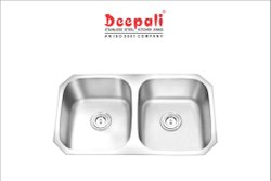 Deepali Glossy Stainless Steel Double Bowl Undermount Sink, 42.75x18