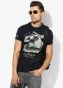 Navy Printed Slim Fit Round Neck T-Shirt