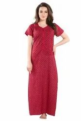 Full Length Cotton Womens Nighty, Size: Large, 25-55