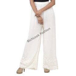 Ladies Rayon Embroidered Palazzo