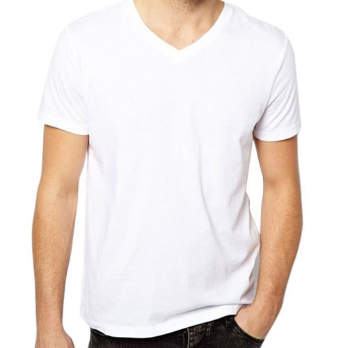 fba65181fdc9 White S-XXL Mens V Neck Plain Cotton T Shirt, Rs 150 /piece | ID ...