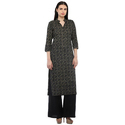 Cottinfab Women's Black Cotton Straight Kurta With Solid Palazzo