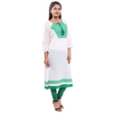 White Green Cotton Kurti