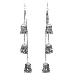 Traditional afghani silver oxidized earring