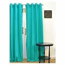 Eyelet Ariana Monochrome Aqua Extra Large Door Curtain, Size: 9 Ft(length)