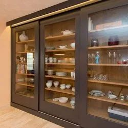 Wooden And Glass Crockery Cabinet, for Home And Hotel