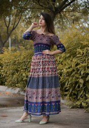 Rayon  Crep Maxi Dress