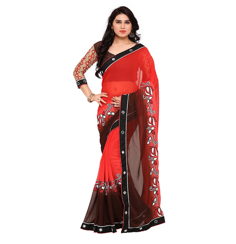 7f3c5dfb23 Printed Party Wear Women Embroidered Multicolour Georgette Saree6521 ...