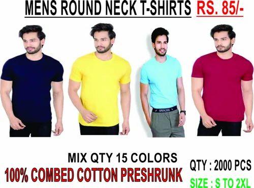 e74f1460 Plain Basic Round Neck T-Shirts 100% cotton at Rs 85 /piece | Malad ...