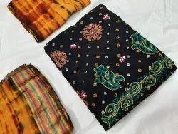 poonam sarees Anarkali Cotton Satin Bandhani Khatli Works Suit, Handwash