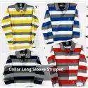 Precious Formal Wear Collar Long Sleeve Striped T Shirt