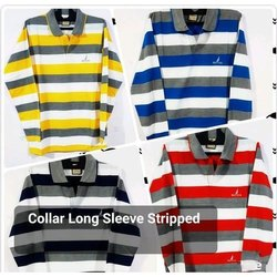 Collar Long Sleeve Striped T Shirt