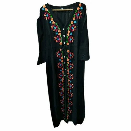 Ranngam Rayon Ladies Embroidered Maxi Dress