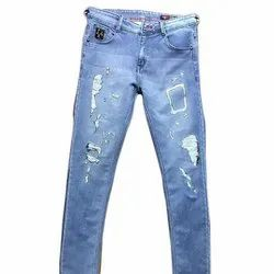 Knitted Denim Casual Wear Mens Blue Ripped Jeans