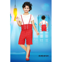 Red And White Casual Wear Girls Denim Dress
