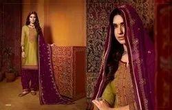 Kajree fashion Cotton Patiyala Suits, Dry clean
