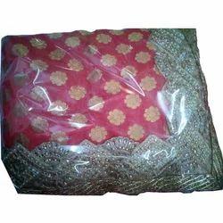 Pure Silk Red Half Half Partywear Saree