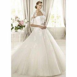 Satin And Net Modern White Christian Wedding Dresses