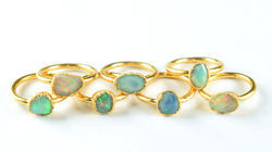 Natural Raw Opal Gemstone Copper Electroformed Rough Ring