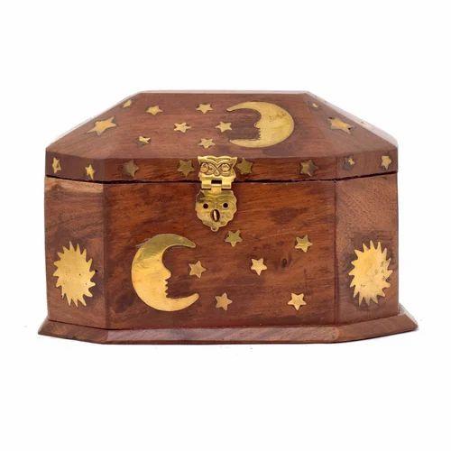 Wooden Star & Moon Box