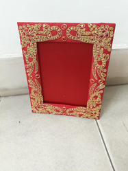 wood HH Hand Embroidered Photo Frame