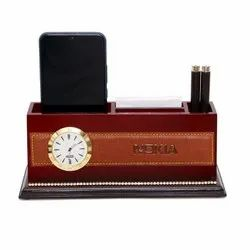 Promotional Wooden Pen Stand with Clock