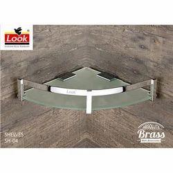 Look 8X8 Inch Bathroom Brass And Glass Corner Wall Shelves