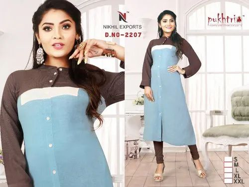 Fancy Straight Rayon Kurti, Size: M,L,XL,XXL