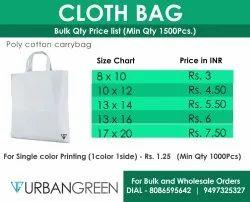 Handled PlainWhite poly Cotton Carry Bag, For Shopping