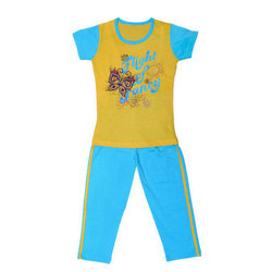 Cotton Blue Yellow Girls T Shirt with Lower