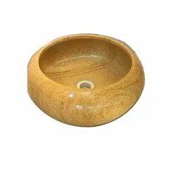 Round Yellow Stone Wash Basin