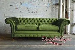 Dwarka Impex Antique 2 Seater Leather Sofa, Bedroom, Size: Standard Size