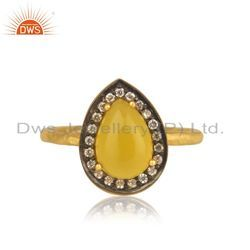 CZ Yellow Chalcedony Gemstone Gold Plated Silver Rings Jewelry