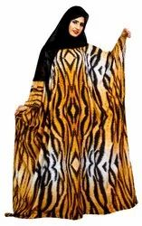 Arabic Animal Printed Imported Abaya Burqa For Women With Chiffon Hijab