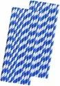 Blue Stripe White Paper Straw
