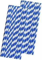 Blue Stripe White Paper Straw