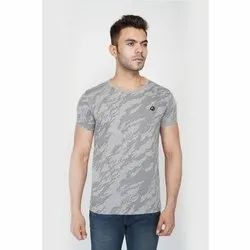 Cotton Half sleeve Mens Grey Round Neck T-Shirt, Packaging Type: Packet