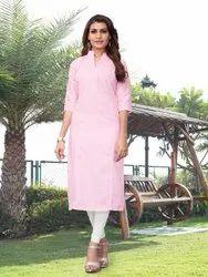 Straight 3/4th Sleeve Krisha Khadi Cotton Kurti for Woman